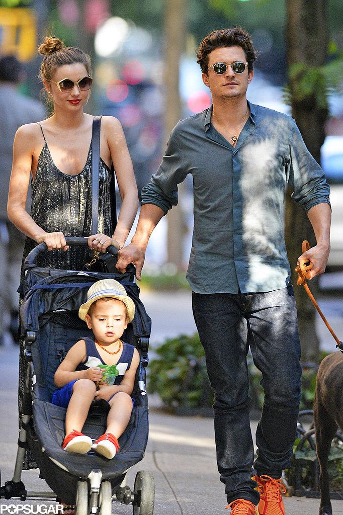 Miranda Kerr and Orlando Bloom took Flynn to Central Park.