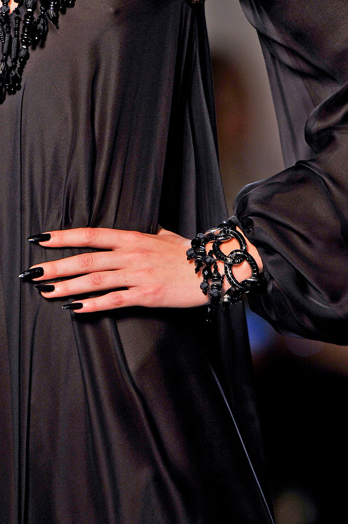 Jean Paul Gaultier swathed his models' nails in inky black.