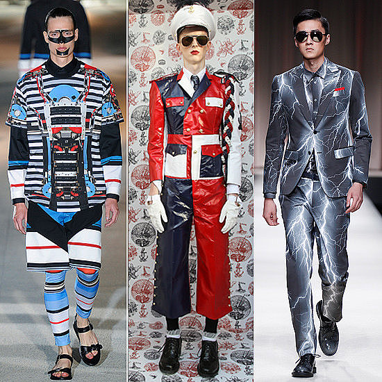 Why should the women have all the fun? Some of the looks from men's fashion week were just plain shocking.