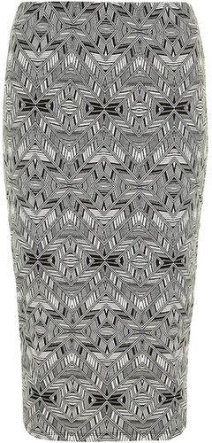 Graphic print jersey skirt
