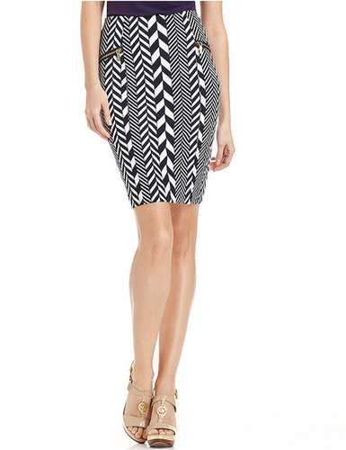 MICHAEL Michael Kors Petite Skirt, Chevron Multi-Stripe Pencil
