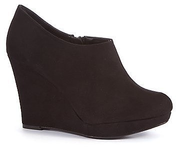 Wide Fit Black Wedge Shoe Boots