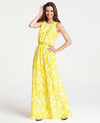 Petite Summer Scroll Print Sleeveless Maxi Dress