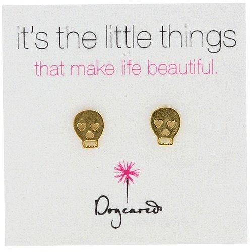 Dogeared Jewels - It's The Little Things Earrings Skull (Gold) - Jewelry