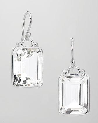 Elizabeth Showers Deco Emerald-Cut White Quartz Earrings