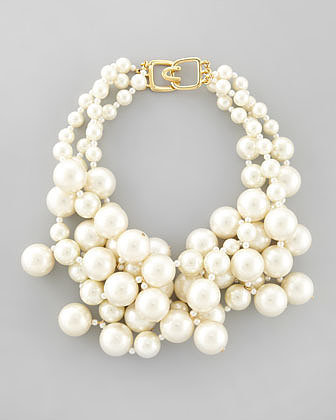 Kenneth Jay Lane Simulated Pearl Cluster Necklace