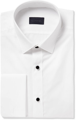 Lanvin White Glass-Button Cotton Tuxedo Shirt