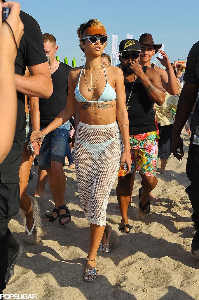 Rihanna hit the beach in Sopot, Poland.