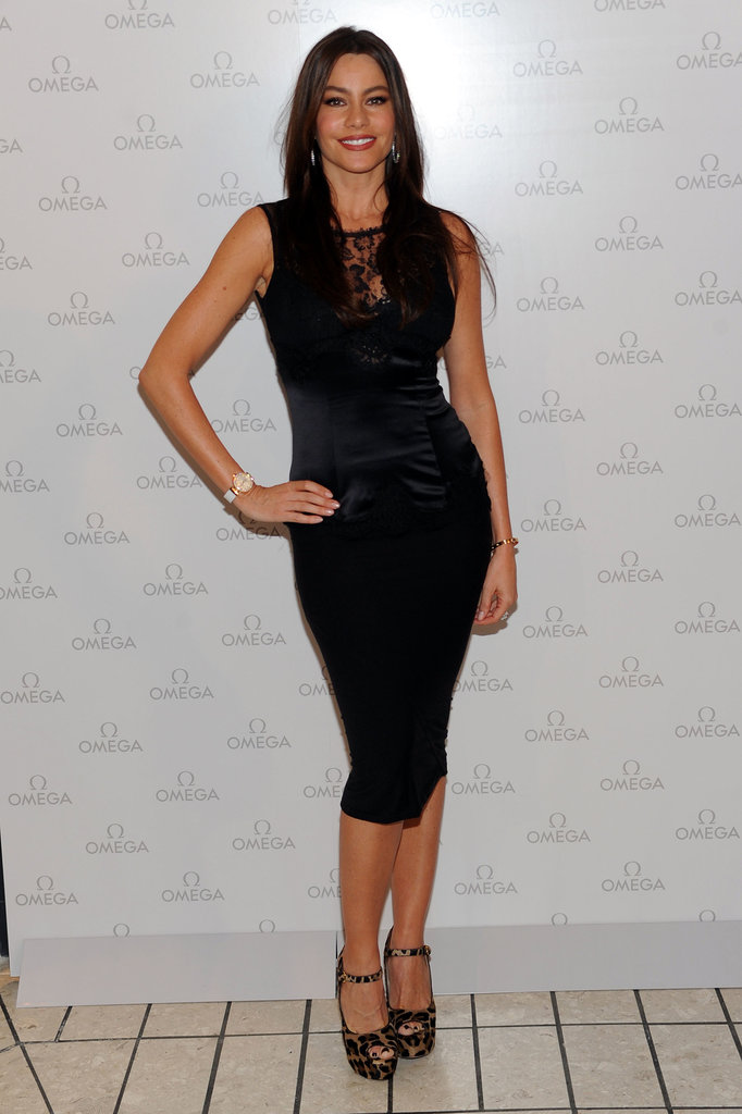 Vergara was lovely in lace and leopard Dolce & Gabbana dress and wild Prada peep-toes at the opening of Omega's LA boutique in December 2010.