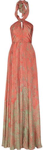 Issa Printed silk halterneck gown