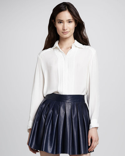 Alice + Olivia Pintucked Stretch-Silk Blouse