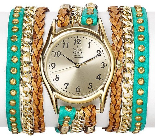 Sara Designs Studded Green Leather Wrap Watch, 33mm