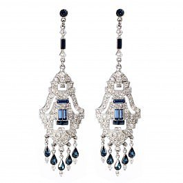 Ben-Amun Sapphire Chandelier Earrings