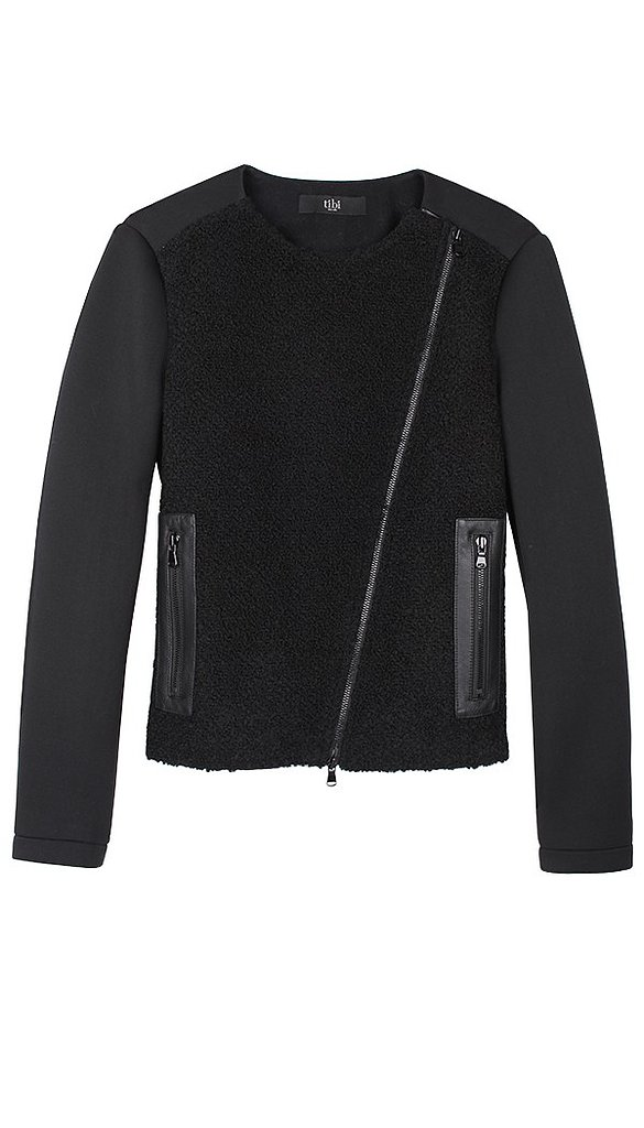We'll happily store this Tibi zip-up ($650) until Fall weather comes knocking. It combines two of our favorite things: bouclé and a leather moto jacket fit!