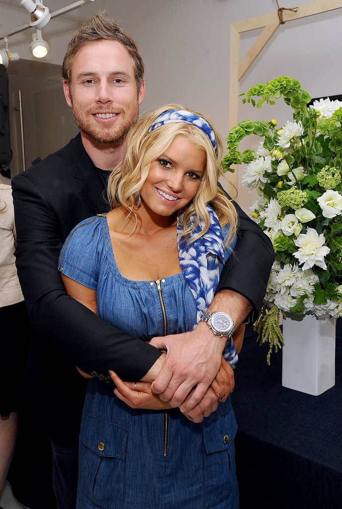 Eric Johnson accompanied Jessica Simpson to the launch event for her denim line in 2010.