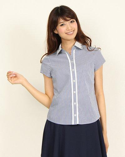 【クイーンズコート】衿レース半袖シャツ