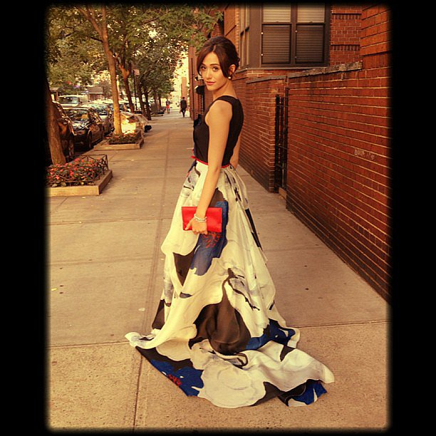 Emmy Rossum wore a gorgeous Carolina Herrera gown for the Persol event in NYC. Source: Instagram user emmyrossum