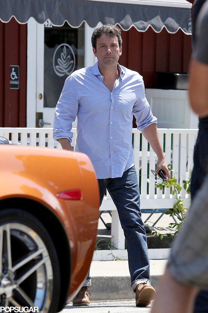 Ben Affleck wore a blue button-down and jeans for an outing in LA.