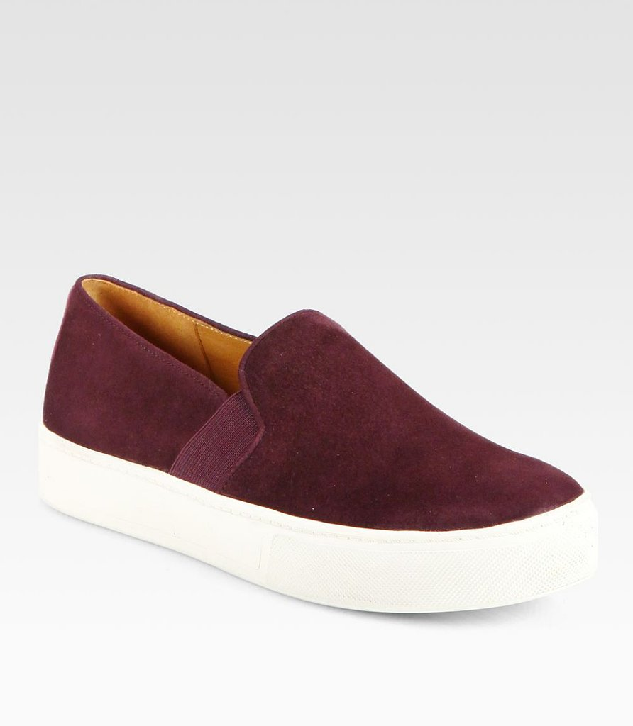 Sneakers specifically not made for athletic activities include anything suede, like these wine-hued Vince kicks ($225).