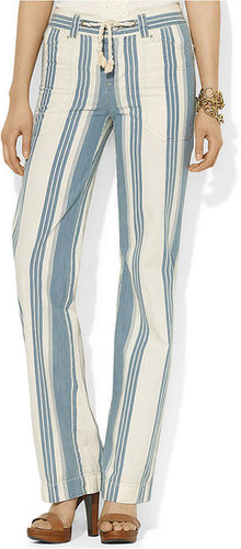 Lauren Ralph Lauren Lauren Jeans Co. Pants, Wide-Leg Striped Drawstring