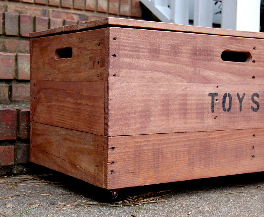For a cool, industrial look, Rolling Looney Bins' Rolling Toy Chest ($245) is a smart, sustainable choice — it's made of recycled shipping pallet wood.