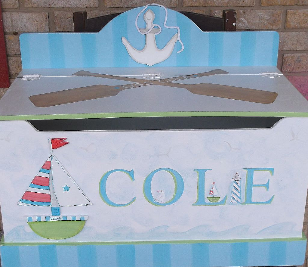 Our Little Man's Nautical Toy Chest ($210) would be right at home in a marine-themed baby boy's room.