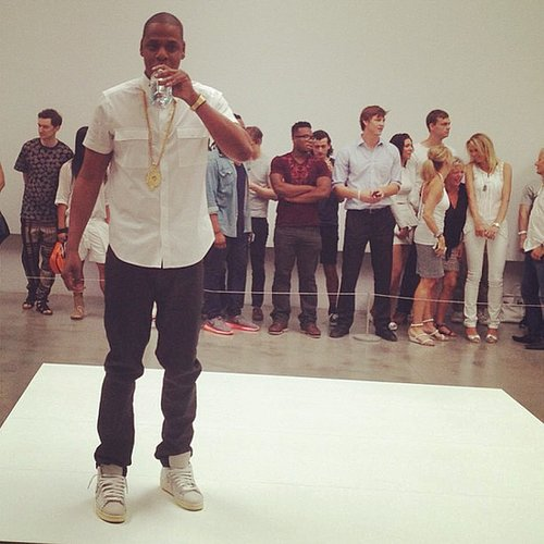 """Jay Z took a water break while performing his song """"Picasso Baby"""" at the Pace Gallery in NYC. Source: Instagram user mtv"""