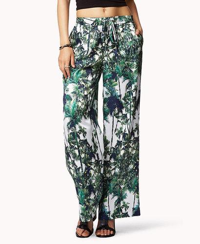 FOREVER 21 Palm Print Wide Leg Pants