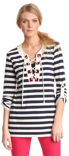 Pure Sage Women's Lace Up Striped Tunic
