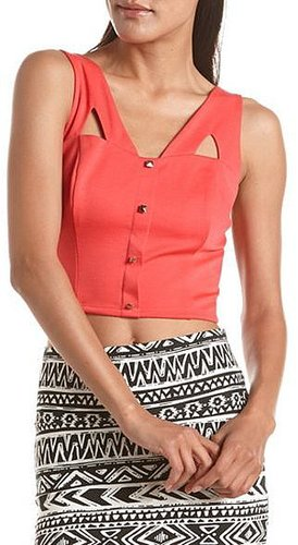 Gold Button Cutout Crop Top