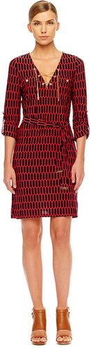 Michael Kors Printed Lace-Up Dress
