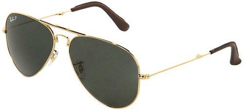 Ray-Ban - 18K Gold Folding Aviator 0RB3479 58 (Arista Polar Green) - Eyewear