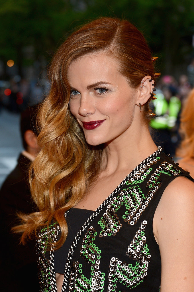 Pulling your hair off to the side is also an opportunity to show off stellar hair accessories like Brooklyn Decker's spiked barrette.