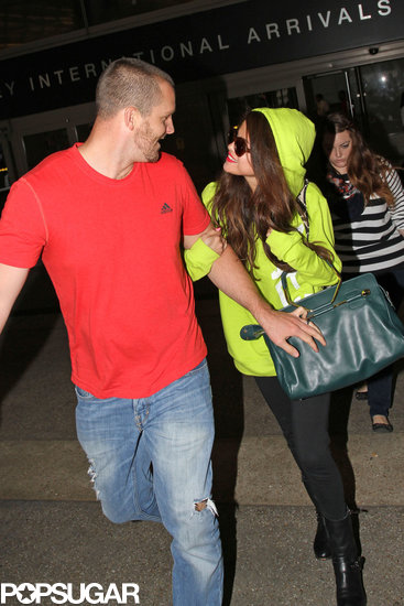 Selena Gomez smiled with her stepdad, Brian Teefey.