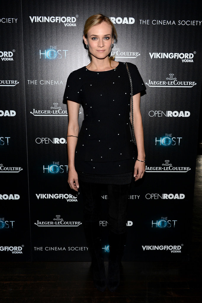 For an NYC screening of The Host, Kruger kept it classy in a daintily embellished Chanel minidress and over-the-knee Christian Louboutin boots.