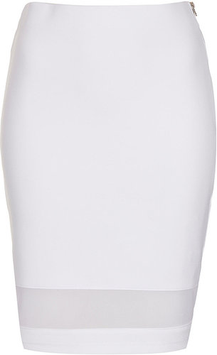 White Mesh Panel Tube Skirt