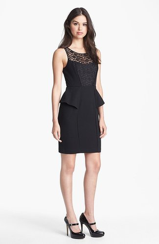 Jessica Simpson Lace Yoke Sleeveless Peplum Sheath Dress