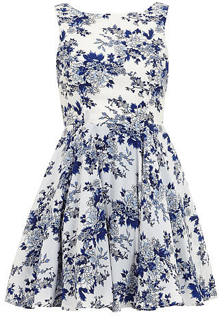 Navy floral volume prom dress