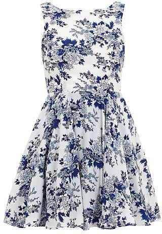 Navy floral volume prom dress