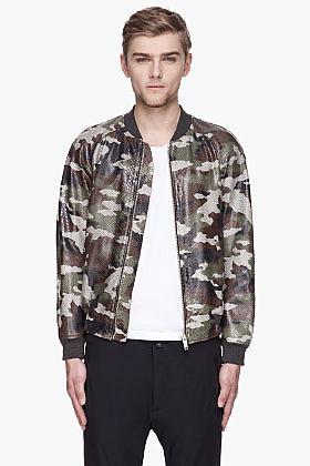 ALEXANDER MCQUEEN Green Hand-painted Camouflage python leather bomber