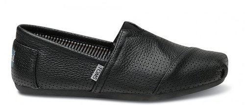 Black perforated leather men's classics