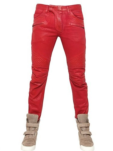 18cm Geometric Waxed Denim Biker Jeans