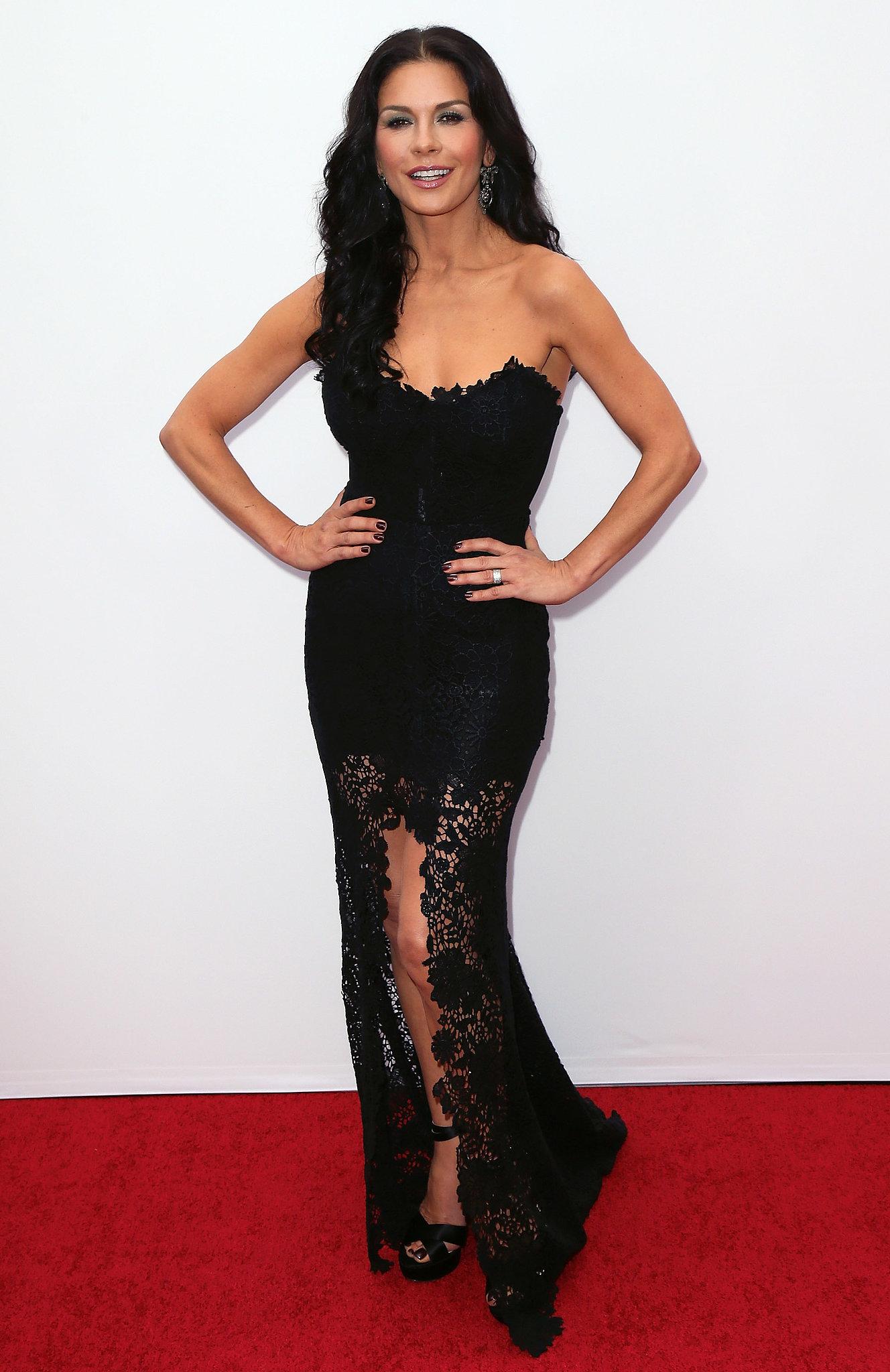 Catherine Zeta-Jones wore a black gown to the premiere.