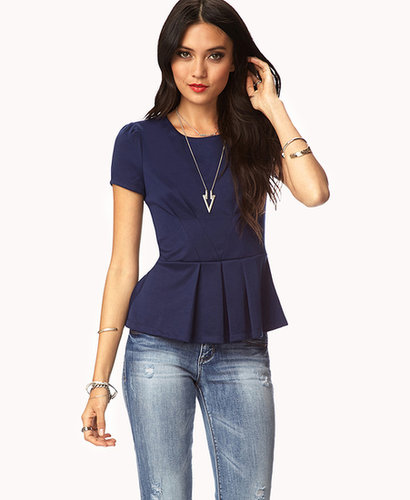 FOREVER 21 Essential Pleated Peplum Top