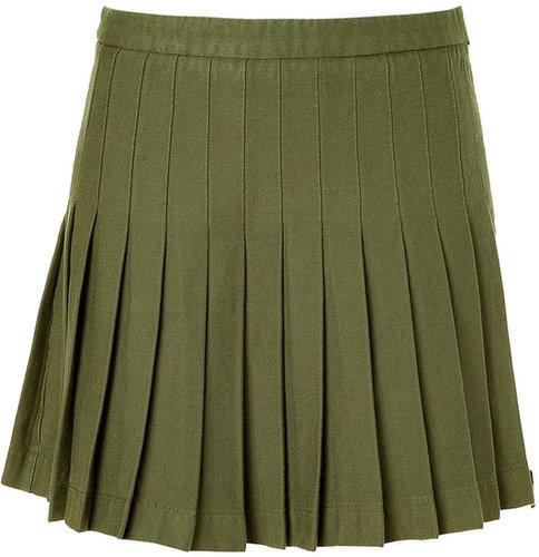 McQ Alexander McQueen Military Green Pleated Skirt