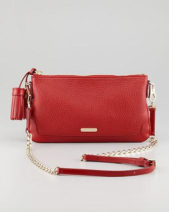 Burberry Leather Tassel Crossbody Bag, Red
