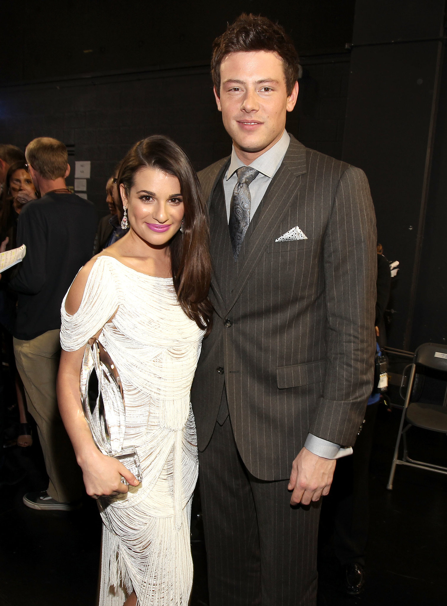 Lea Michele and Cory Monteith met up backstage at the 2012 People's Choice Awards in LA.