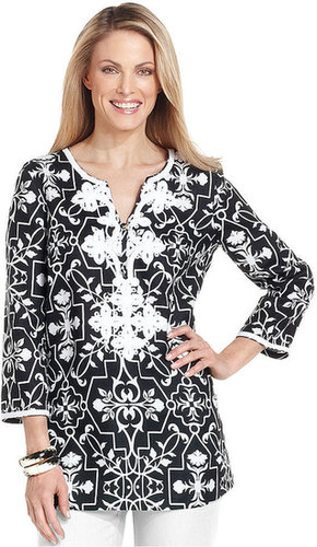Charter Club Top, Three-Quarter-Sleeve Printed Tunic