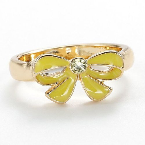 Lc lauren conrad gold tone simulated crystal bow ring