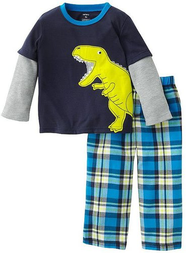 Carter's mock-layer dinosaur and plaid pajama set - toddler